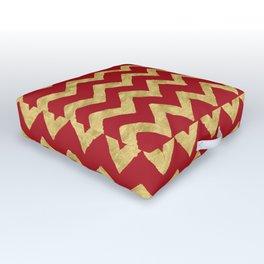 Chevron Red Gold Outdoor Floor Cushion