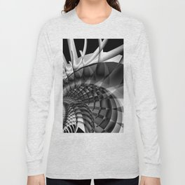 Architecture 101 fractal spiral structure, black, white Long Sleeve T-shirt