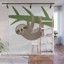 Three-toed sloth on green branch Wall Mural