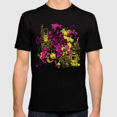 Dream Factory Pink and Yellow Black Mens Fitted Tee MEDIUM