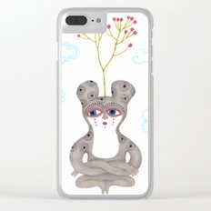 lonely cute creature with rose bush Clear iPhone Case