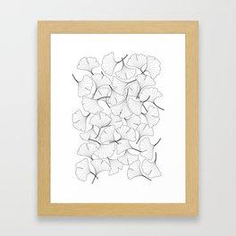 ginkgo leaves (white) Framed Art Print
