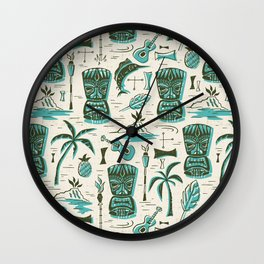 Tropical Tiki - Cream & Aqua Wall Clock