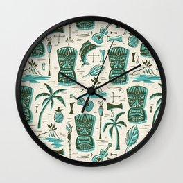 Tropical Tiki - Cream & Aqua Wall Clock