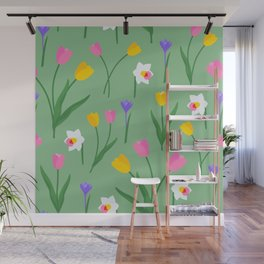 Colorful spring flowers on sage green pattern Wall Mural