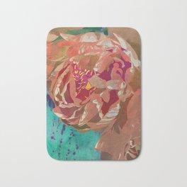 Peach Orange Peony Flower Art | Watercolor Floral Illustration Bath Mat