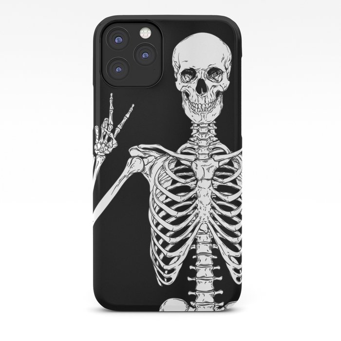 Human skeleton posing isolated over black background vector illustration iPhone Case