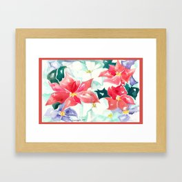 Poinsettia Cheer Framed Art Print
