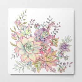succulent watercolor 18 Metal Print