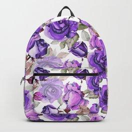 Violet lilac pink watercolor botanical roses floral Backpack