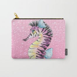 Seahorse Zebra Pink Carry-All Pouch