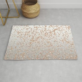 Glitter sparkle mix - rose gold & silver Rug