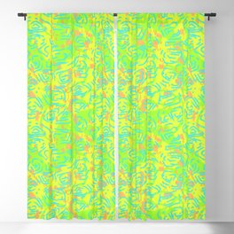 90's Neon Abstract Turtle Shells in Fluorescent Yellow Blackout Curtain