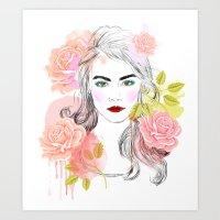 cara delevingne Art Prints featuring Cara Delevingne by Sara Eshak