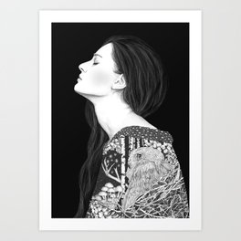 Forest and night in black & white Art Print