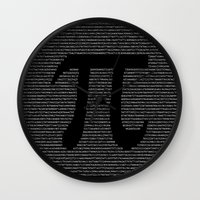 pi Wall Clocks featuring Pi by The Colour Wheel