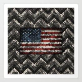 Urban Digital Camo Pattern with American Flag Art Print