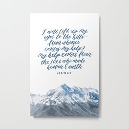 Mountain and bible lettering Metal Print