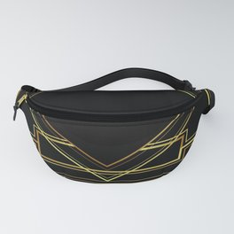 art deco gatsby black and gold lines geometric pattern Fanny Pack