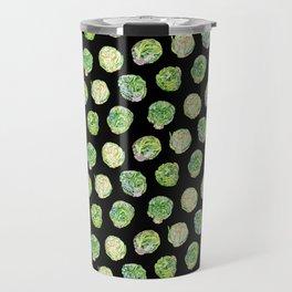 Brussel Sprouts Pattern Black Travel Mug