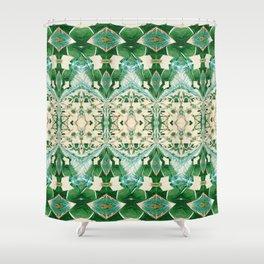 Boujee Boho Green Lace Geometric Shower Curtain