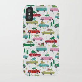 Christmas car tradition christmas trees holiday pattern winter festive iPhone Case