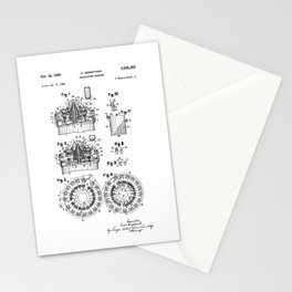 Curta Mechanical Calculator Patent Drawing Stationery Cards
