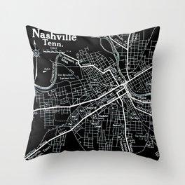 Vintage Nashville Black Throw Pillow