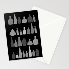 Bottles Black and White on Black Stationery Cards