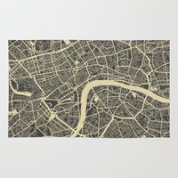 london Area & Throw Rugs featuring London by Map Map Maps