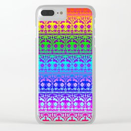 Rainbow Folk Art Damask Clear iPhone Case