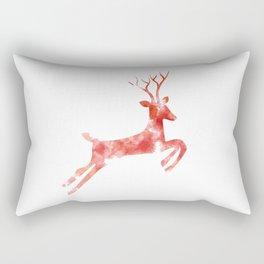 Red Painted Deer Rectangular Pillow