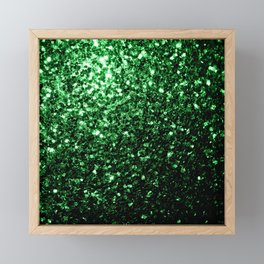 Glamour Dark Green glitter sparkles Framed Mini Art Print