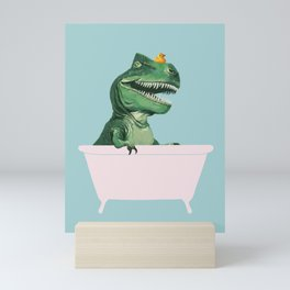 Playful T-Rex in Bathtub in Green Mini Art Print