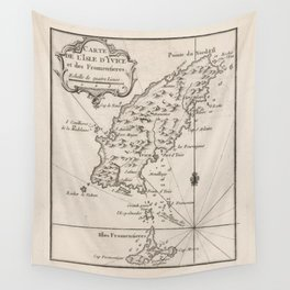 Vintage Ibiza Spain Map (1764) Wall Tapestry