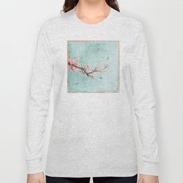 Live life in full bloom - Romantic Spring Cherry Blossom butterfly Watercolor illustration on aqua Long Sleeve T-shirt