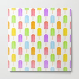 Rainbow Summer Popsicles Pattern Metal Print
