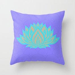Lotus blue /mint Meditation Through Pillow Throw Pillow
