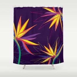 Tropical floral pattern Strelitzia Shower Curtain