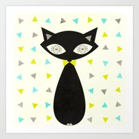 mid century Art Prints featuring Mid Century Cat  by Laura Ruth