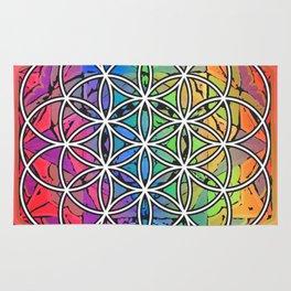 Flower of Life Sacred Geometry Mandala Color 1 Rug
