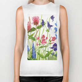 Garden Flowers Botanical Floral Watercolor on Paper Biker Tank