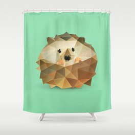 Low Poly Hedgehog Shower Curtain