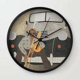 Trombone musician and his 1946 Dodge pickup truck Wall Clock