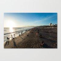santa monica Canvas Prints featuring Santa Monica by felipealmeidaphoto