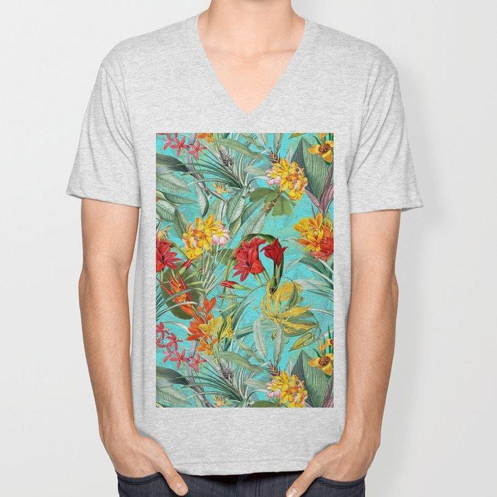 Vintage & Shabby Chic - Pierre-Joseph Redouté -Colorful Tropical Blue Garden Unisex V-Neck