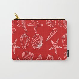 Red and white seashells pattern Carry-All Pouch