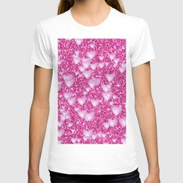 Hearts on sparkling Glitter Print,pink T-shirt