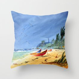 Puerto Rico Maunabo Beach Throw Pillow