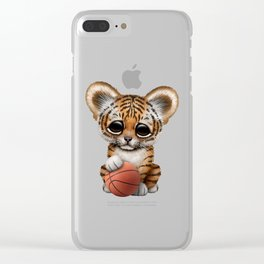 Tiger Cub Playing With Basketball Clear iPhone Case